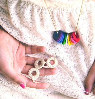 mother's day homemade gift idea wrapped washer necklaces