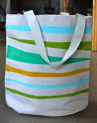 hand painted striped tote bag diy