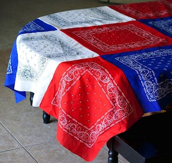 red white and blue bandana tablecloth tutorial DIY