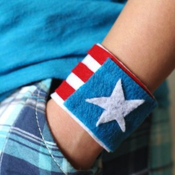 felt red white blue july 4th bracelet cuff craft