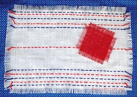 July 4th sashiko runner 13 finished with coaster 2