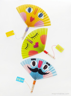 summer paper fan to print and fold