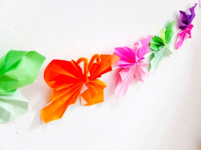 My Poppet folded paper butterfly directions and garland