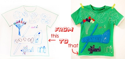 turn a child's drawing into a t-shirt design