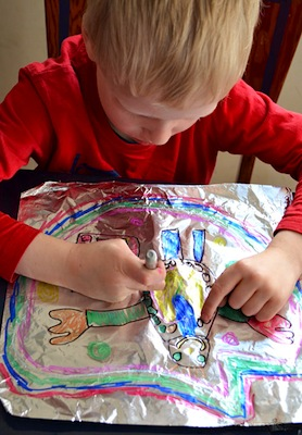 drawing on foil easy art for kids sharpie markers