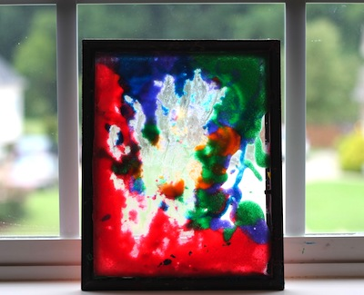 puffy paint on clear glass frames sun catchers