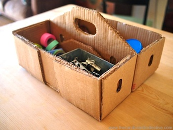 recycled cardboard toolbox tutorial for father's day gift to make