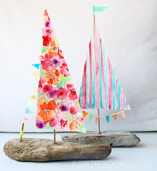 driftwood boats with watercolor sails craft