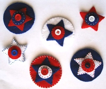 felt star hair clips fourth of july