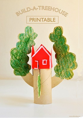 toilet paper roll treehouse free printable cut and color craft