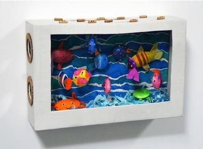 cardboard box aquarium diorama