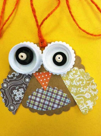 owl paper craft necklace