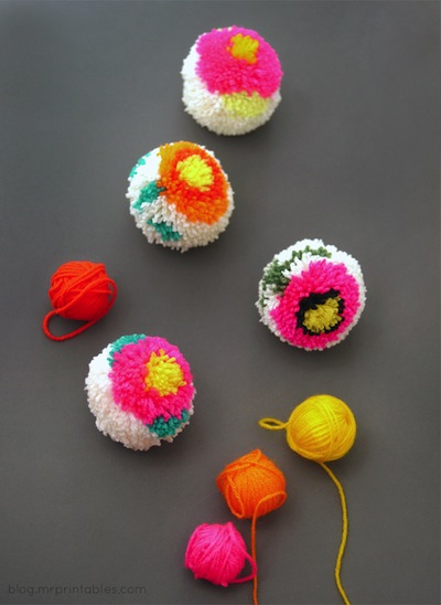 pompoms with flower designs
