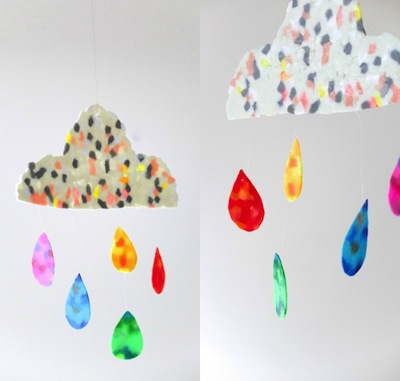 melty bead cloud and rainbow mobile