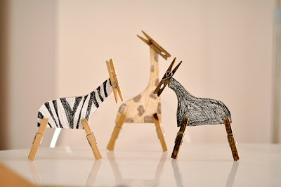 paper and clothespin animals