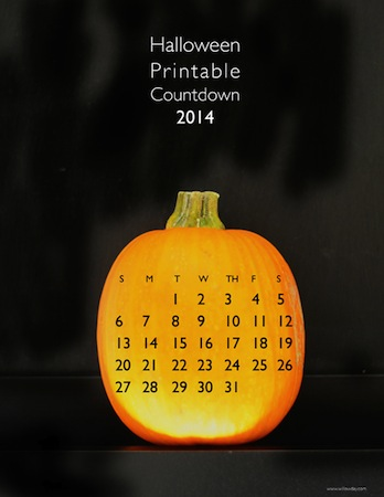 free printable Halloween countdown calendar 2014