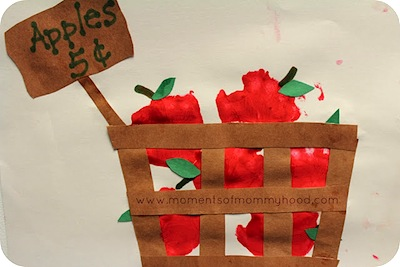 handprint craft apples in a basket