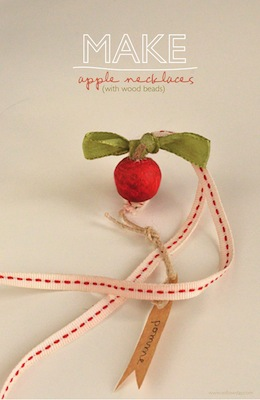 wood bead apple necklace craft