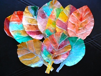 coffee filter and glue gun fall leaves