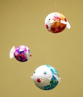 Papier mache fish mobile things to make and do crafts for Things to make with paper mache