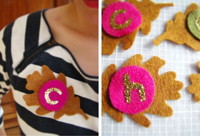 fall felt brooches with glitter and vintage buttons