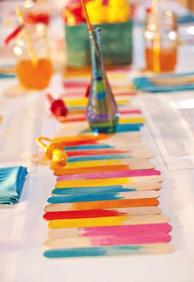 DIY tutorial watercolor popsicle stick table runner