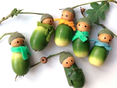 little green acorn men fall craft tutorial