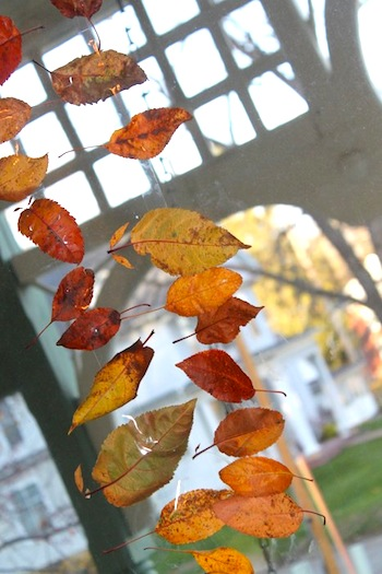easy fall leaf window garland leaves on tape