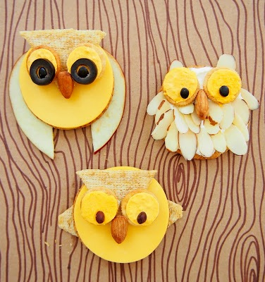 cheese and cracker owl treats for kids