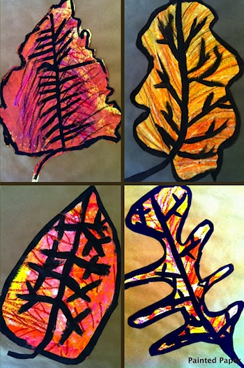 giant fall leaves art using oil pastels and paint