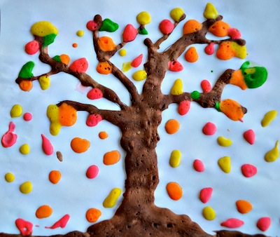 puffy paint fall tree art - Things To Paint For Kids
