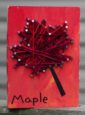autumn nail and string art craft for kids