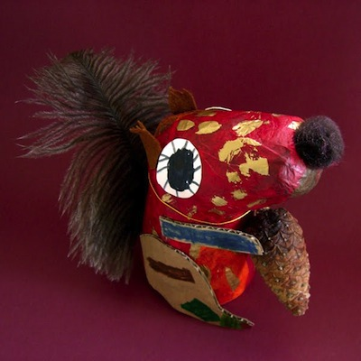 papier mache squirrels fall craft