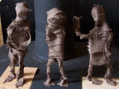 burlap figure sculpture