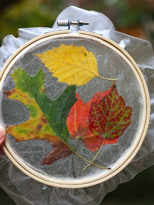 embroidery hoop leaf suncatchers