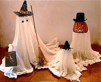 tabletop ghosts decorations made from gauze