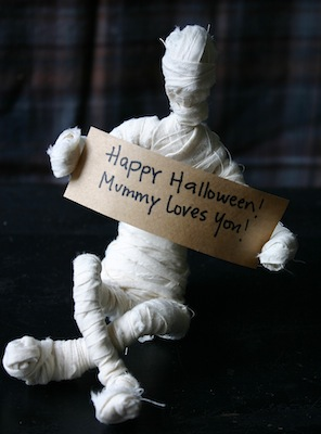 mummy doll figure made from wire and muslin