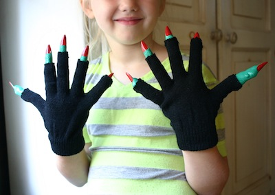 witch hands made from mittens