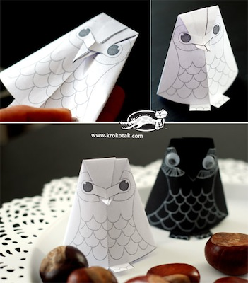 paper owl to print and fold