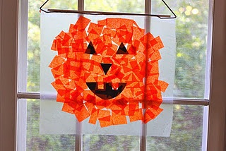 tissue paper pumpkin sun catchers