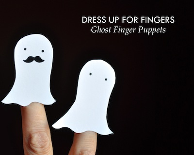 paper ghost finger puppets