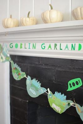 collaged paper craft goblin garland