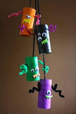 toilet roll tube monsters mobile halloween craft