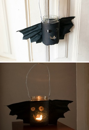 recycled glass jar bat lantern Halloween craft for kids