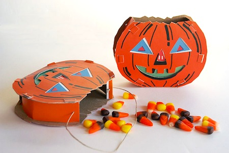 vintage-inspired paper pumpkin treat holder diy printable