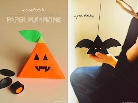 pumpkin box and bat lanterns free Halloween printables