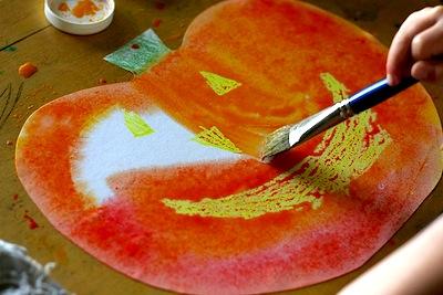 Waldorf Watercolor Resist Jack O Lanterns Art