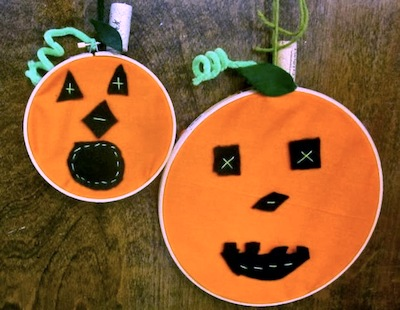 embroidery hoop jack o'lanterns