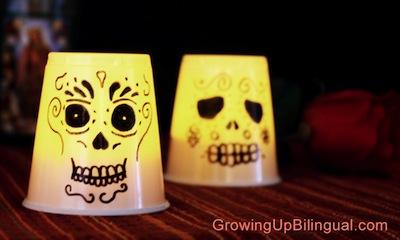 dia de los muertos plastic cup lantern craft