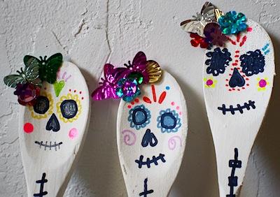 dia de los muertos skull calavera wooden spoon craft